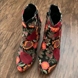MIA Shoes - MIA floral embroidered ankle bootie